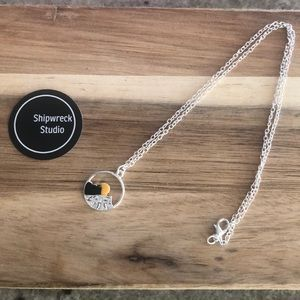 Silver Plated Mountain Scene Necklace NEW
